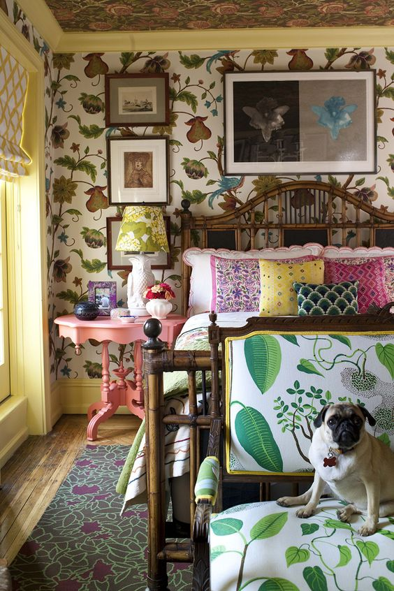 I love this - crazy mix of patterns, colors, clutter and everything about this room - and the dog!