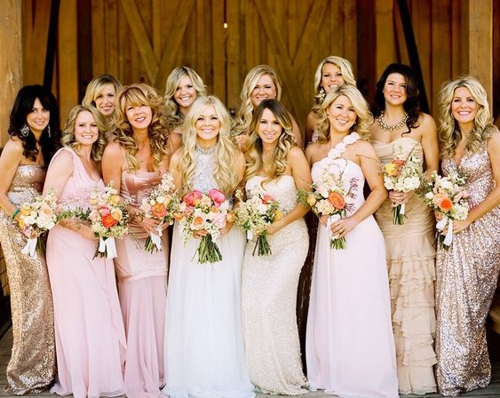Love the mismatched bridesmaid gowns especially the ones with ...