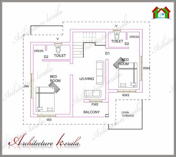 ARCHITECTURE KERALA   Low Medium cost house designs   Pinterest     square feet plan bedroom kerala style house plan house plan for low budget kerala style house plan for middle class families house plan for small