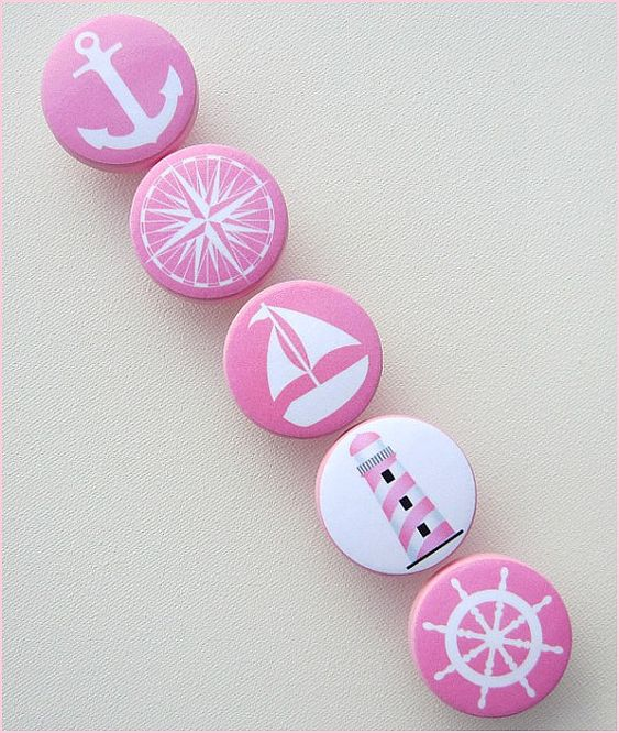 Kids Knobs  Drawer Pulls  Pink Nautical by SweetPetitesBoutique, $5.00