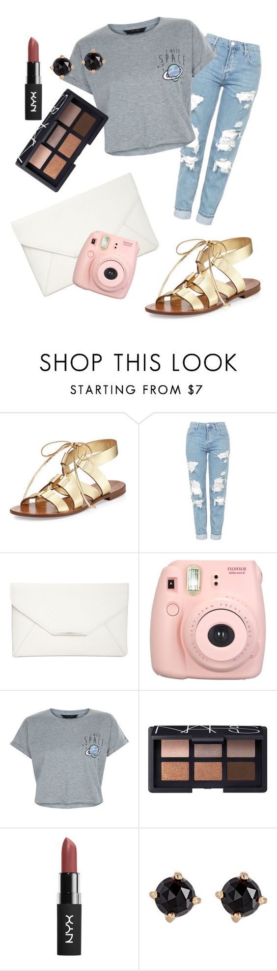 """gold sandals"" by cpobenshain ❤ liked on Polyvore featuring Kate Spade, Topshop, Style & Co., Fujifilm, New Look, NARS Cosmetics and Irene Neuwirth"