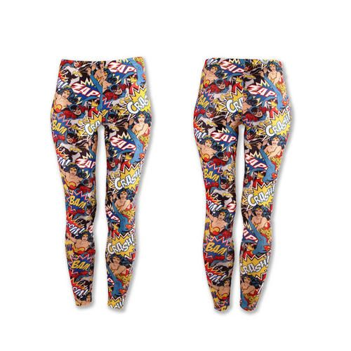 You'll feel like a superheroine in these fashionable leggings featuring #WonderWoman and #Batgirl in comic style action poses!