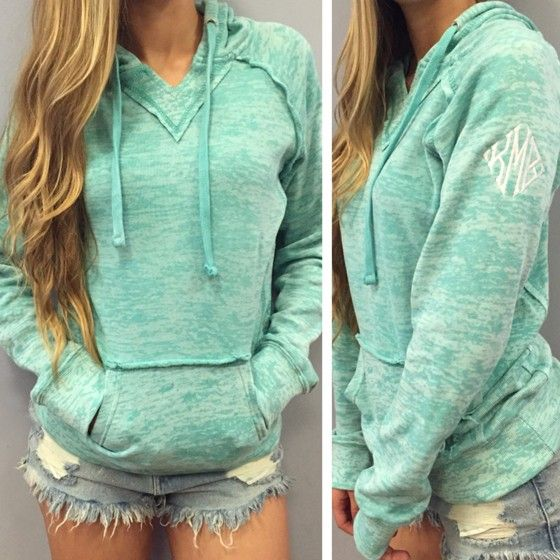 Green Plain Embroidery Pockets Long Sleeve Hooded Sweatshirt