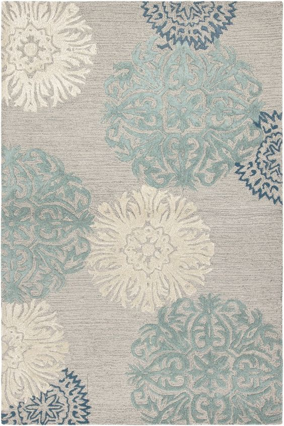 Inspiration place.....Aqua, blue, & gray rug. This would be Perfect for our master bedroom!!