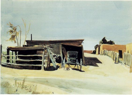 Adobes and Shed - New Mexico by Edward Hopper