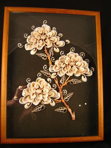 Shell Coral Floral Shadowbox 70s Sophisticated Souvenir Tropic Travel Art Craft | eBay