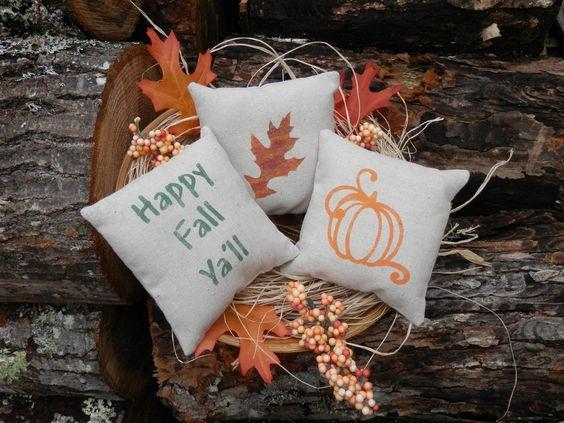 Happy Fall Ya'll Pumpkin Oak Leaf  bowl filler or by YouSaidWhat, $12.00