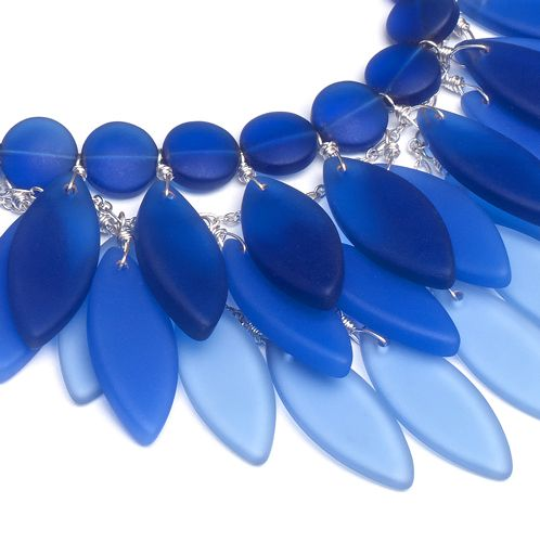 """""""Into the blue"""" cultured sea glass jewelry by Kelsey Lawler in the March 2014 issue of Bead Style magazine. beadstylemag.com"""