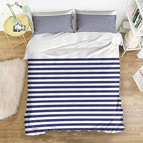 Bedding 4 Piece Bed Set Comfortable Soft Brushed Cotton Navy Blue Red And White Stripe Pattern Design Full Size Stripes Pattern Design Bedding Sets Flat Sheets