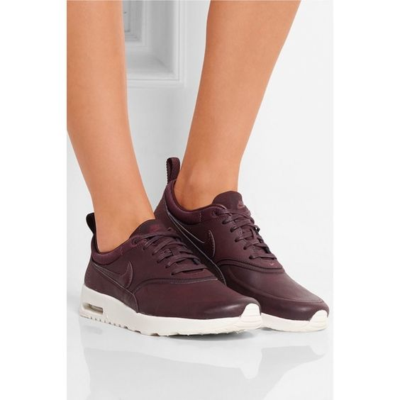 Nike Air Max Thea Premium Leather Sneakers Nike Air Max Thea Premium Leather Sneakers. White rubber sole measures app. 1.5 inches. Merlot leather and satin ...