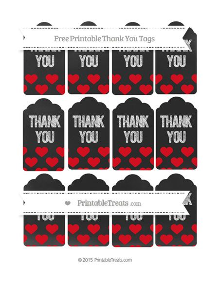 HAS MANY COLORS--PAGES 101-120--Free Lava Red Heart Pattern Thank You Tags on Chalkboard--- http://www.printabletreats.com/page/109/?s=Chalk+style+treat+bags&colorOptions&categoryOptions