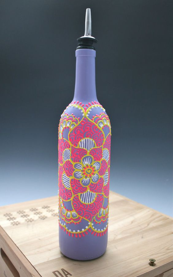 Hand painted wine bottle olive botellas decoradas for Purple wine bottles for sale