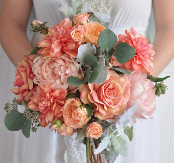 Romantic Coral Wedding Bouquet Bridal Bouquet made with Pink