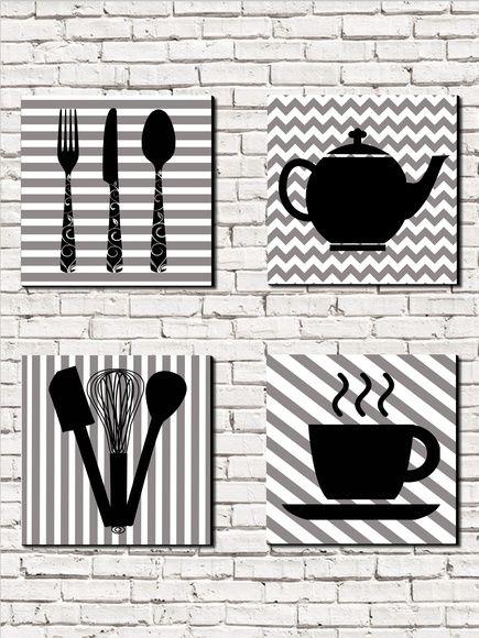 Kit com 4 quadros em MDF 20x20 - Cozinha: