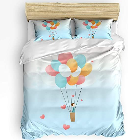T Amp H Xhome 3 Pcs Bedding Set Duvet Cover Twin Size Air Balloon Romatic Love Down Comforter Cover With Mat In 2020 Duvet Covers Twin Comforter Cover Down Comforter