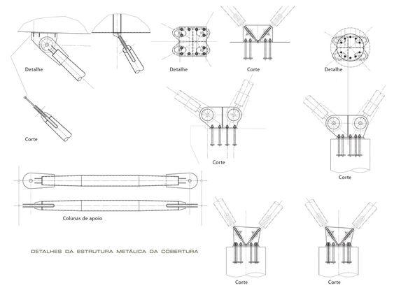 Detalhes da estrutura metálica