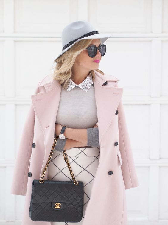 Blush pink coat sweater patterned skirt Chanel bag grey wool