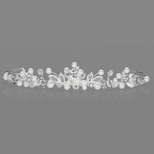 Brautschmuck diadem  Diadem 'Fenia' mit Perlen & Strassblüten | Accessoires | Pinterest ...