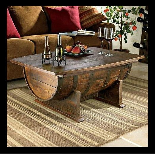 Caves rustic hardware and wine barrels on pinterest for Man cave coffee table ideas