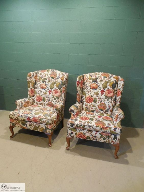 Pair Fairfield Queen Anne Foot Quilted Upholstery Wing Back Chairs