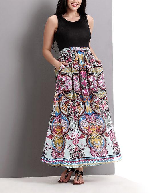 Loving this Black & Pink Ornate Maxi Dress - Plus on #zulily! #zulilyfinds
