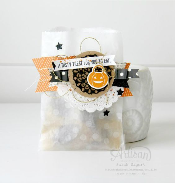 Howl-o-ween Treats stamp set, Boo to You Framelits and Happy Hauntings DSP ~ Sarah Sagert