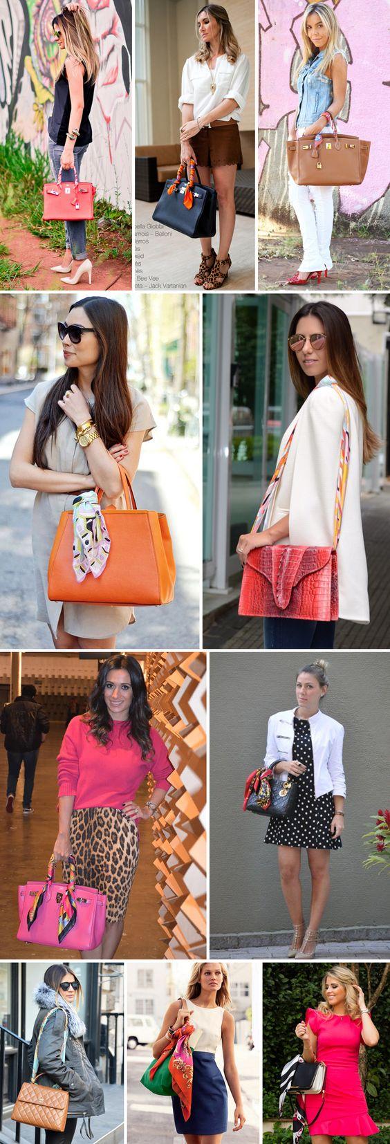 truque se styling: looks com amarração de lenço na bolsa