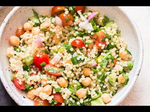 Israeli Couscous Salad Is Packed With Raw Vegetables And Cooked Pearl Couscous Also Known As Israeli Couscous Salad Israeli Couscous Salad Making Fried Chicken