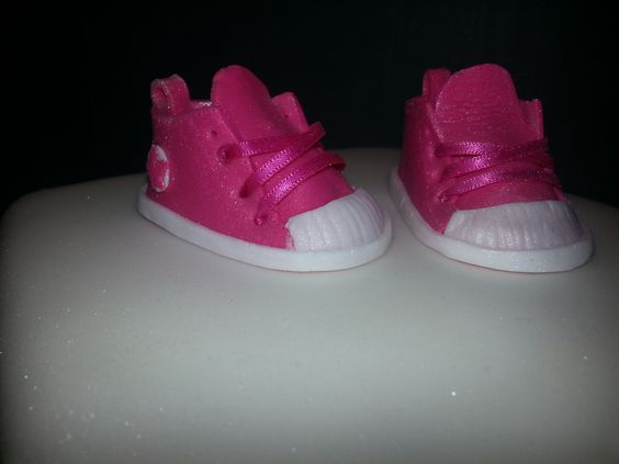 Baby converse handmade cake toppers. Mr's B's classy cakes. Facebook.