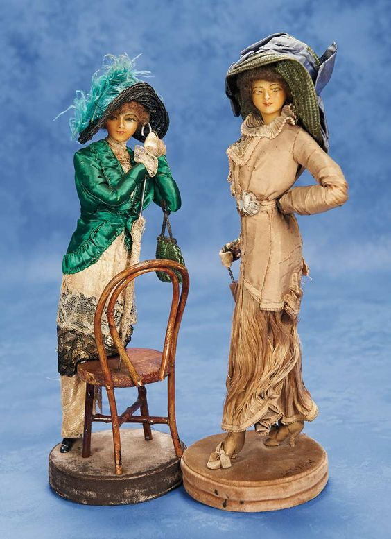 "air of French Wax Fashionable Ladies by Lafitte & Desirat  12"" (30 cm.) Each has poured wax head with slender face posed in angular manner,painted facial features,brunette mohair wig,very slender elongated body with padded armature allowing stylish pose,painted shoes,posed on original velvet base.:"