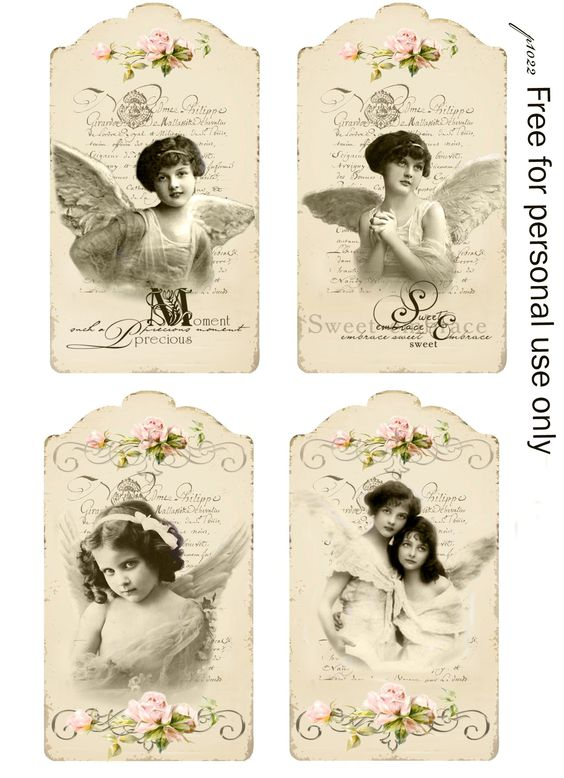 Vintage angels tags Digital collage p1022 Free for personal use <3