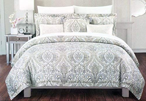 Amazon Com Cynthia Rowley Bedding 3 Piece Full Queen Duvet Cover Set Light Blue Beige Tan White Floral Medalli Cynthia Rowley Bedding Queen Duvet Covers Bed