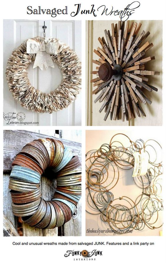 Salvaged Junk Wreaths - cool and unusual wreaths made from salvaged junk! Features and a link party via http://www.funkyjunkinteriors.net/