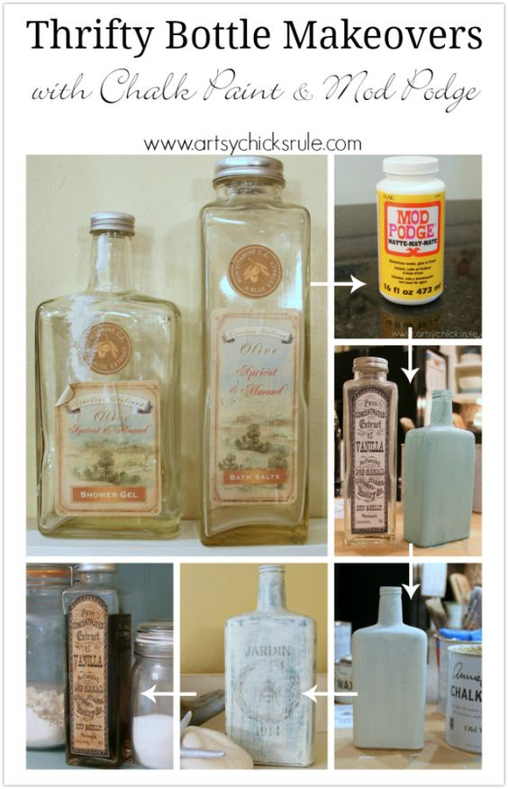 Thrifty Bottle Makeovers {Decoupage & Chalk Paint} - Steps to Create - #decoupage #chalkpaint artsychicksrule.com