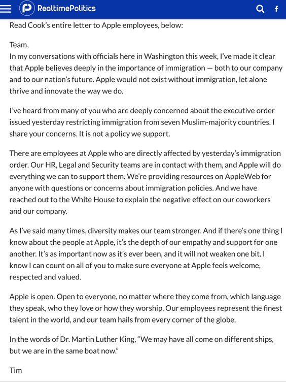 Apple s CEO Tim Cook letter to employees about Trumps Hateful