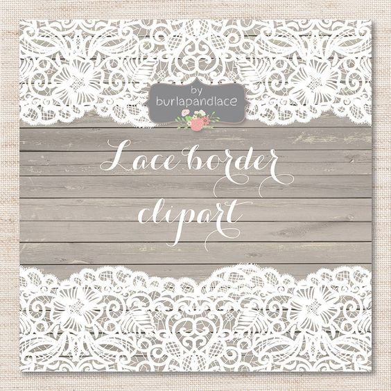 Lace border clipart by burlapandlace on Creative Market