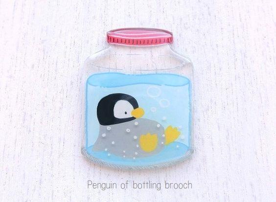 瓶詰めペンギンのブローチ