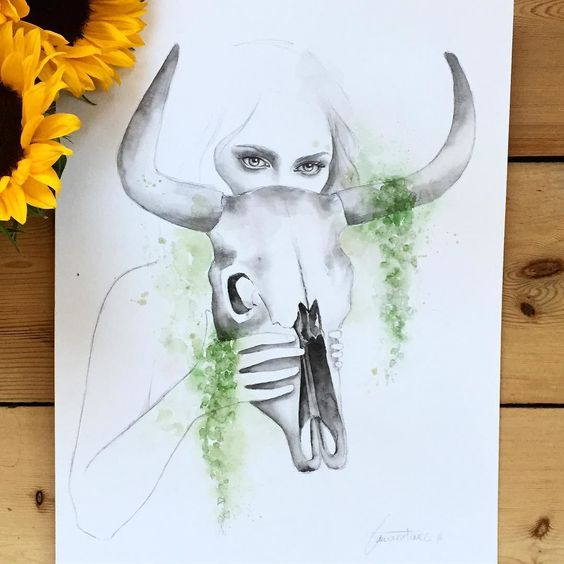 You just need to look at her eyes to understand everything. #art #watercolor #pencil #illustration #painting #artwork #watercolorportrait #skull #horns #plants #green #nature #animalskull #girl #black #artist #instaart #mask #eyes #watercolorart #print #decor #orginal #watercolorillustration #portrait #sunflower #skullillustration #acuarela #ilustracion