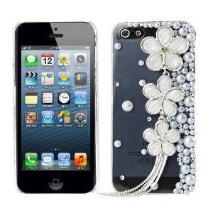 Amazon.com: 3d Handmade Crystal Pearl Flower Design Diamond Rhinestone Clear Case Cover for Samsung Galaxy S4 I9500, Samsung Galaxy S3 I9300, Iphone 4 4s/5 5s/5c: Electronics