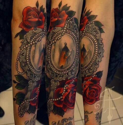 Mirror tattoo. Rose | Old school tattoos | Pinterest ...