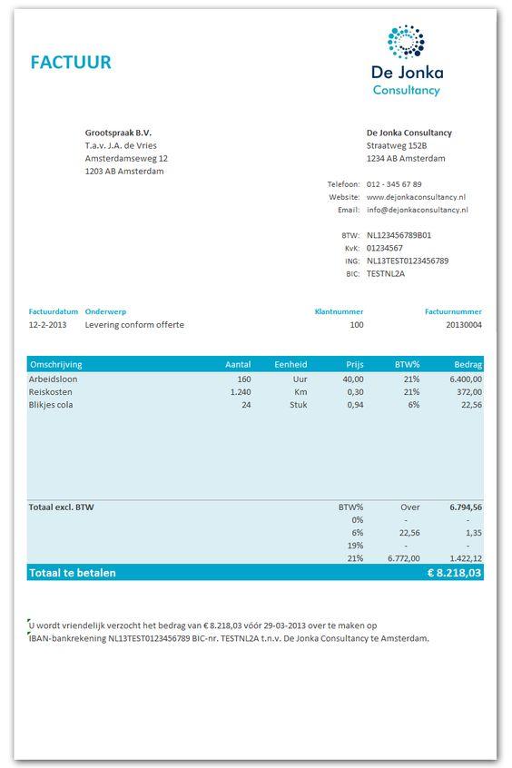 Excel factuur (gratis). 7 modellen in 10 verschillende kleuren. http://www.boekhoudeninexcel.nl/excel-factuur-sjabloon-gratis/