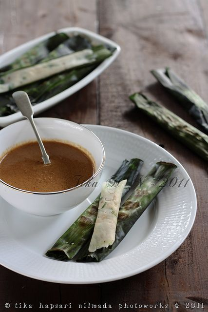 Goat In Banana Leaves With Spicy Peanut Sauce Recipe — Dishmaps