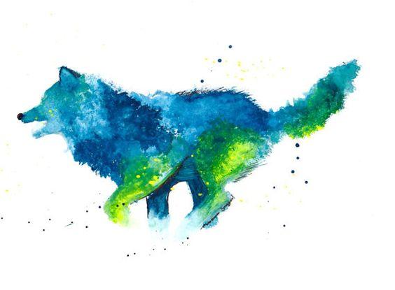 Azul y verde acuarela lobo abstracto pintura salpicadura naturaleza salvaje Inicio decoración colgante de pared Animal moderno 8 pulgadas por 11 pulgadas de impresión original