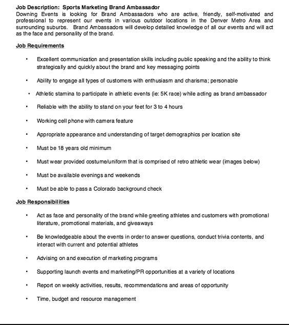 Sports Marketing Brand Ambassador Job Description Resume - Http