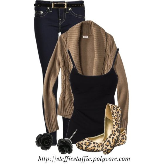 """Black, Camel & Leopard"" by steffiestaffie on Polyvore"
