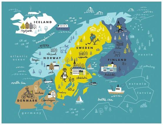 Let's go to scandinavia ! Scandinavia travel Map. Carte illustrée de la Scandinavie.