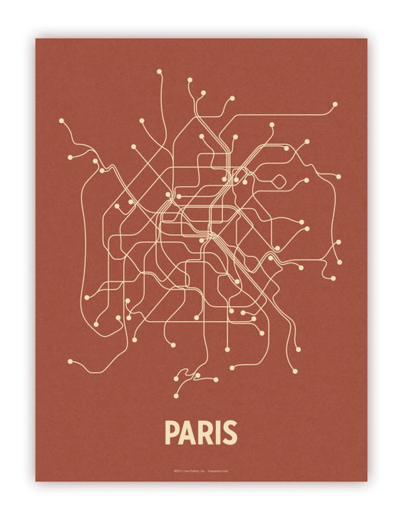 Paris Lineposter Screen Print  Brick Red/Tan by lineposters, $28.00