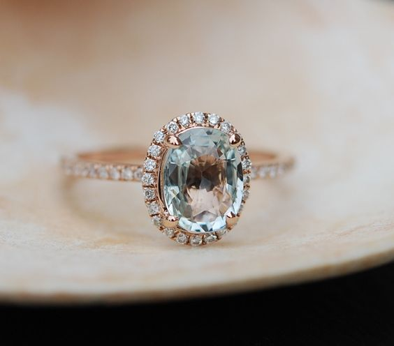 Green blue sapphire engagement ring. Mint by EidelPrecious on Etsy