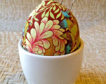 Egg Pincushion in a Duck Footed Pot - Kaffe Fassett fabric