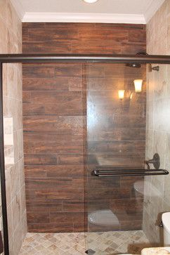 Wood tile shower contemporary bathroom dallas by for Wood tile tub surround